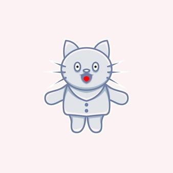 漫画風の服を着てかわいい猫のイラスト