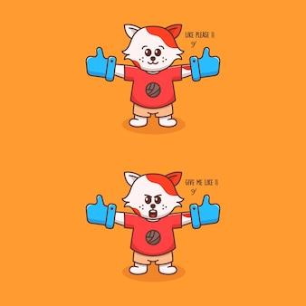 장갑 같은 큰 귀여운 고양이 그림