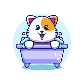 욕조 만화 캐릭터에 귀여운 고양이
