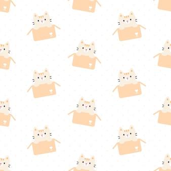 ボックスのシームレスな背景の繰り返しパターン、壁紙の背景、かわいいシームレスパターン背景でかわいい猫 Premiumベクター