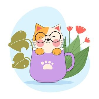 コーヒーカップのかわいい猫