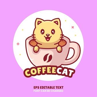 평면 스타일의 커피 로고 벡터 아이콘 그림 프리미엄 커피 만화 로고 한 잔에 귀여운 고양이