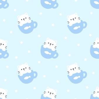 한 잔의 커피 완벽 한 패턴 배경에서 귀여운 고양이