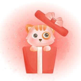 Милый кот в подарочной коробке акварелью.