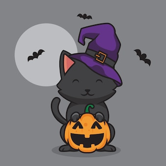 Милый кот в шляпе и иллюстрации шаржа тыквы