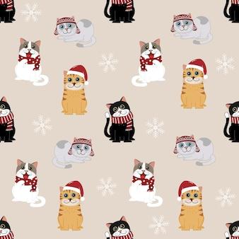 Cute cat in Christmas costume pattern