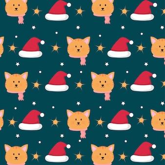 Милый кот в рождественской теме бесшовные модели