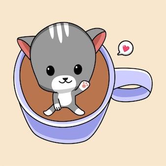 Милый кот в чашке кофе иллюстрации шаржа