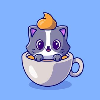 Милый кот в чашке кофе мультфильм вектор значок иллюстрации. концепция животных напиток значок изолированные premium векторы. плоский мультяшном стиле