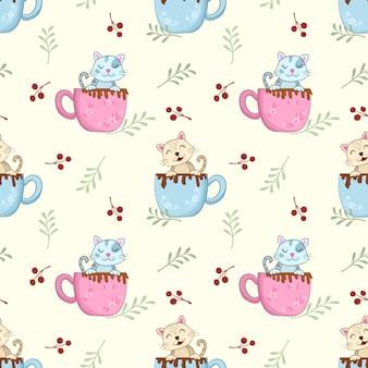 コーヒーカップの朝の時間パターンでかわいい猫。