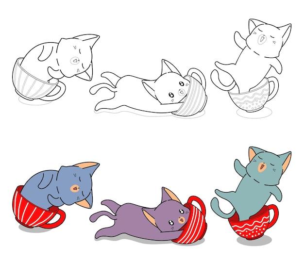 Милый кот в чашке кофе персонажи мультфильма легко раскраски для детей