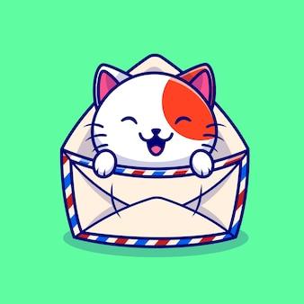 Милый кот в конверте мультфильм вектор значок иллюстрации. концепция значка почты животного, изолированные premium векторы. плоский мультяшном стиле