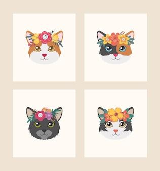 Милый кот в цветочном венке