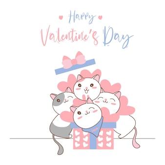 Милый кот в подарочной коробке на день святого валентина.