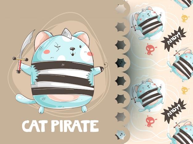 Милый кот в пиратском костюме, дизайн футболки и рисунок