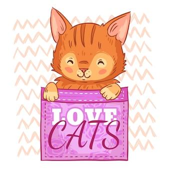 주머니에 귀여운 고양이. 사랑 고양이, 주머니 고양이와 웃는 고양이 만화 일러스트 레이션