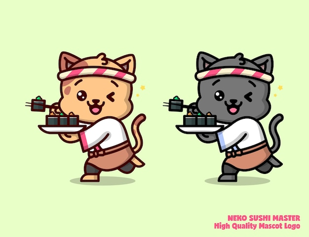 Sushi master outfit의 귀여운 고양이는 두 가지 색상으로 웃습니다. 식품 사업 회사 로고에 적합합니다.