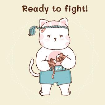 Милый кот в традиционном тайском боксе, оборачивая руку перед боем