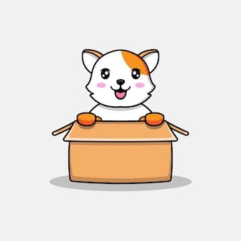 Милый кот в картоне
