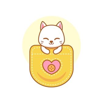 주머니에 귀여운 고양이