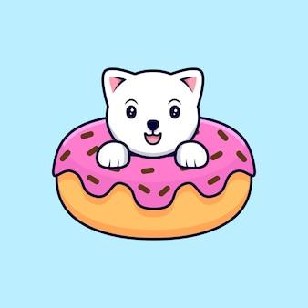 도넛 안에 귀여운 고양이