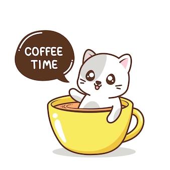 Милый кот внутри чашки кофе