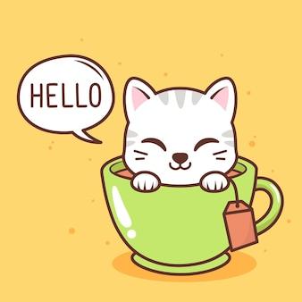 Милый кот внутри чашки чая