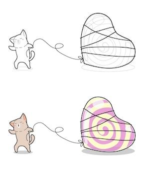 かわいい猫は子供のための巨大なハート型のキャンディー漫画の着色ページをドラッグしています
