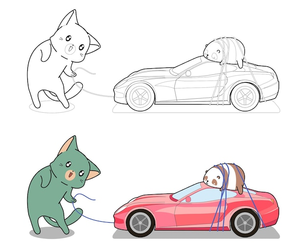Cute cat is dragging toy car coloring page for kids