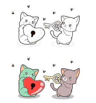 Cute cat is holding heart lock and other cat is holding the key coloring page for kids