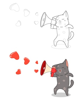 Cute cat is shouting love word cartoon easily coloring page