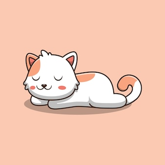 Cute cat is sleeping cartoon illustration.