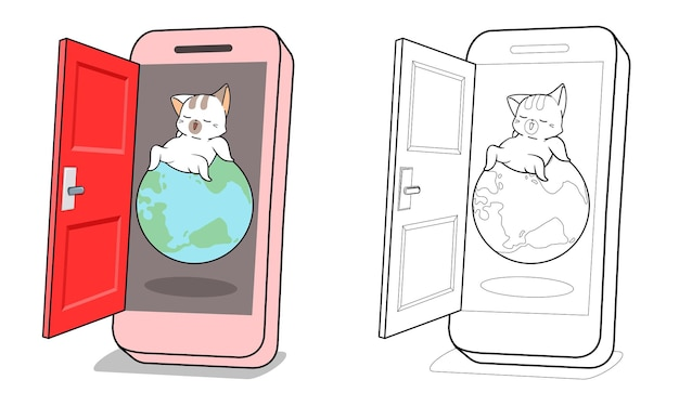 Cute cat is in smartphone cartoon coloring page