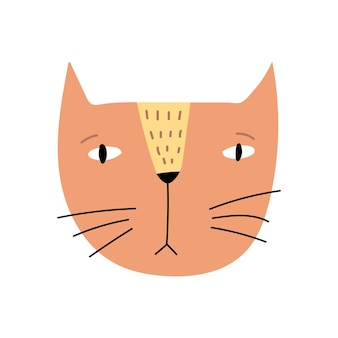 흰색 배경에 고립 된 귀여운 고양이 벡터 일러스트 레이 션은 손으로 그린 어린이 인쇄
