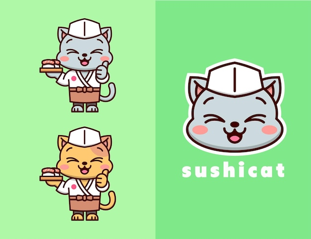 Cute cat in japanese sushi master outfit logo design. suitable for food business logo and company.
