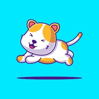 かわいい猫ジャンプ漫画ベクトルイラスト。動物フラット漫画スタイルの概念