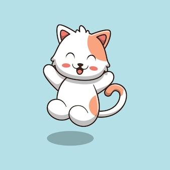 Cute cat jumping cartoon illustration