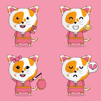 Милый кот каваи в китайской одежде