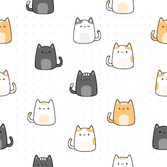 Cute cat kitten cartoon doodle seamless pattern on dot