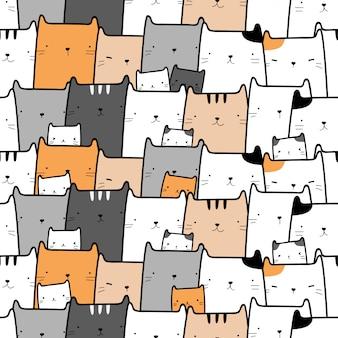 Cute cat kitten cartoon doodle seamless pattern