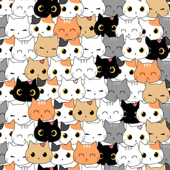 Cute cat kitten cartoon doodle seamless pattern