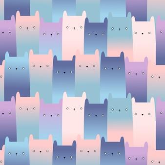 Cute cat kitten cartoon seamless pattern