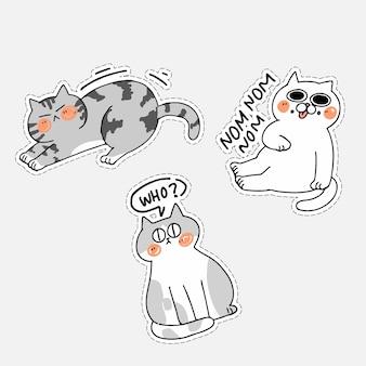 Очаровательны cute cat kitten doodle иллюстрация наклейка iv набор активов. лучшее приложение для чата messenger, распечатать