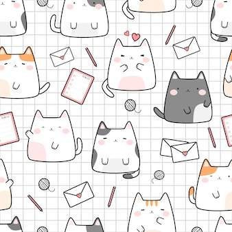 Cute cat kitten on grid cartoon doodle seamless pattern