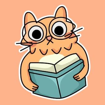 귀여운 고양이 새끼 고양이 학교 연구 그림 그리기 다시 행복