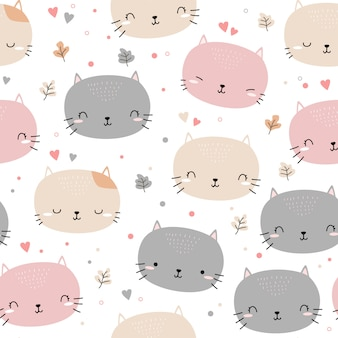 Cute cat kitten head cartoon doodle seamless pattern