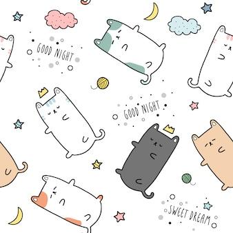 Cute cat kitten sleeping cartoon doodle seamless pattern