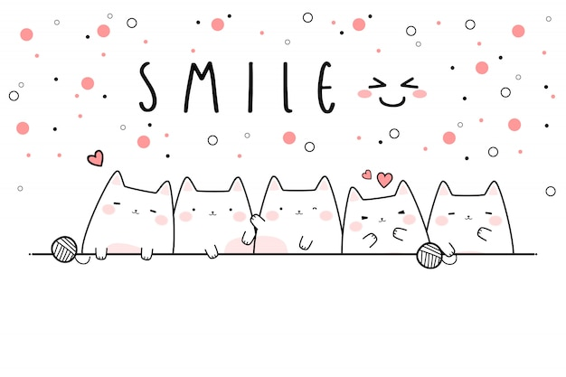 Cute cat kitten smile cartoon doodle banner wallpaper