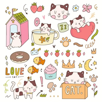 Cute cat and kitten sticker cartoon illustration doodle badges. hand drawn icon planner collection set.