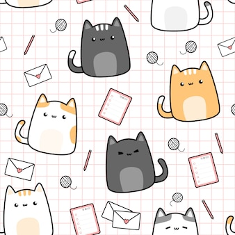 Cute cat kitten and stuff cartoon doodle seamless pattern
